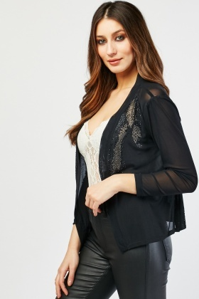 Encrusted Sheer Cardigan