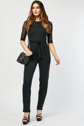 Lace Insert Belted Jumpsuit