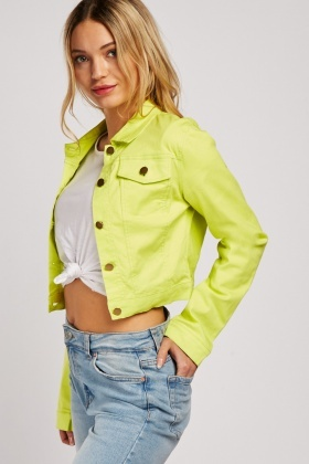 Lime Crop Denim Jacket