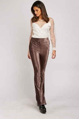 Velveteen Ribbed Flared Leg Trousers