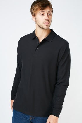 Black Long Sleeve Polo Top