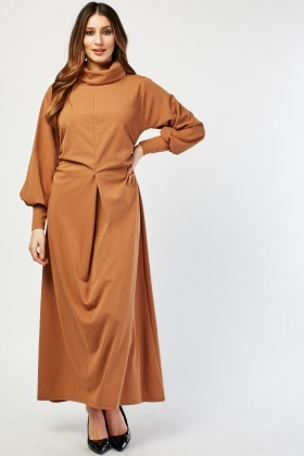 Ruched Side High Neck Maxi Dress