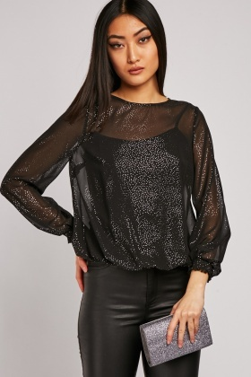 Sheer Metallic Keyhole Blouse
