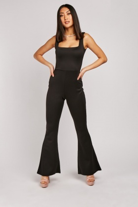 Square Neck Flared Leg Jumpsuit