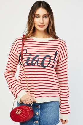 Striped Embroidered Logo Front Knit Jumper