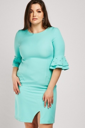 Tiered Pearl Detail Sleeve Dress