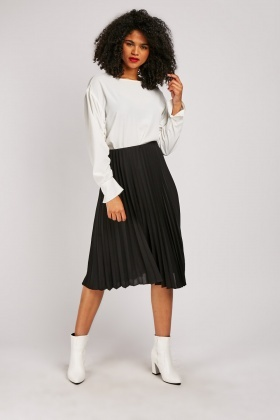 Accordian Pleated Black Midi Skirt