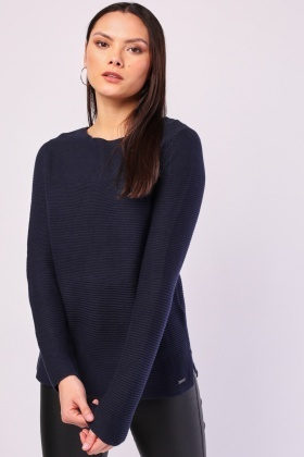 Crew Neck Rib Knit Jumper