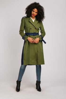 Denim Contrast Structured Trench Coat