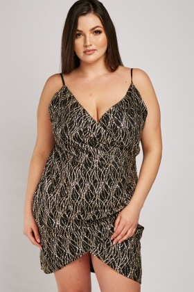 Glitter Pattern Draped Slip Dress