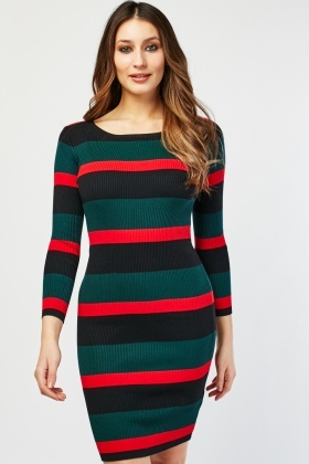 Long Sleeve Striped Ribbed Dress