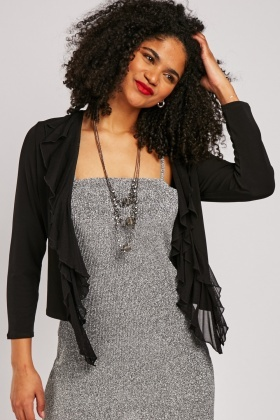 Necklace Attached Ruffle Cardigan