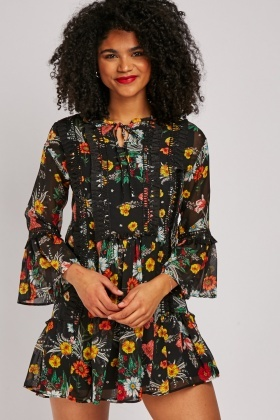 Printed Chiffon Smock Dress
