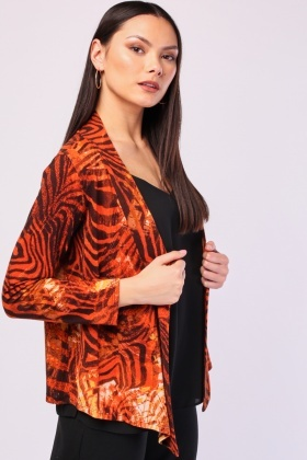 Tiger Print Open Front Cardigan