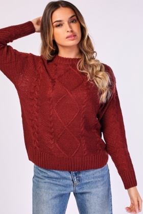 Cable Knit Contrasted Sweater