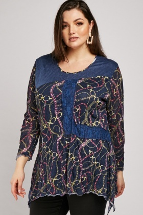 Chain Print Lace Crinkle Top