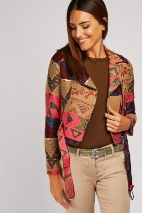Embroidered Pattern Crop Jacket