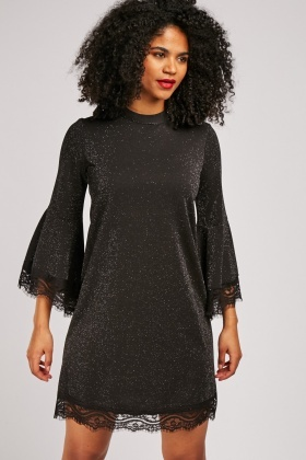 Flute Sleeve Shimmery Shift Dress