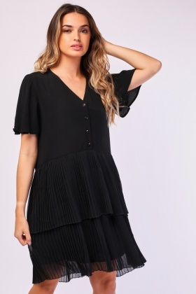 Knife Pleated Smock Dress