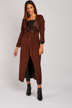 Lapel Front Maxi Duster Coat