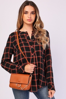 Long Sleeve Checkered Blouse