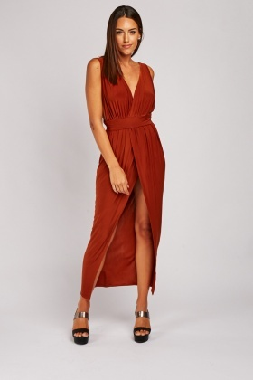 Low Plunge Maxi Wrap Dress