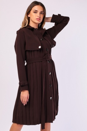 Pleated Midi Structured Trench Coat