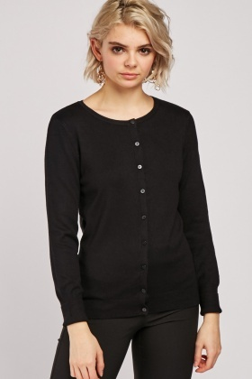 Ribbed Side Panel Plain Knit Cardigan