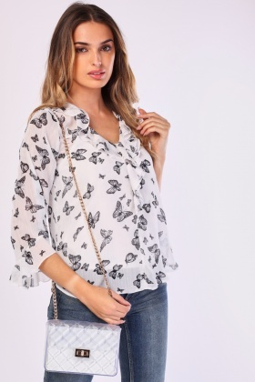Ruffle Butterfly Print Blouse