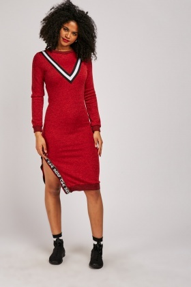 V-Shaped Striped Jumper Dress