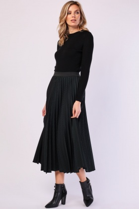 Window Pane Accordian Pleated Skirt