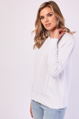Cable Knit Zip Up Cardigan