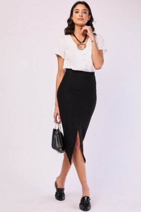 Center Front Slit Pencil Skirt