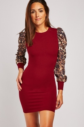 Cheetah Print Sleeve Bodycon Dress