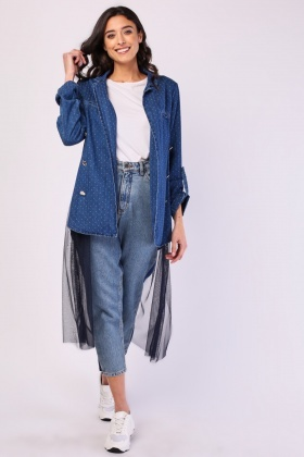 Net Underlay Denim Jacket