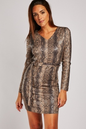 Snake Skin Printed Bodycon Dress