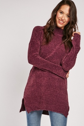 Chenille Knit Plum Jumper