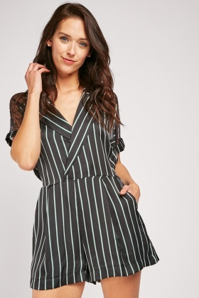 Lace Insert Pin Striped Playsuit