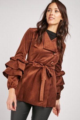 Layered Sleeve Cord Coat