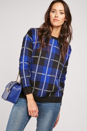 Long Sleeve Plaid Knit Jumper