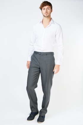 Straight Fit Grey Tailored Trousers