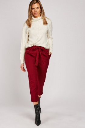 Belted Crop Tapered Trousers