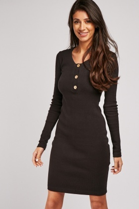 Button Front Rib Bodycon Dress