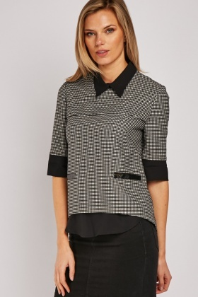 Printed Faux Leather Trim Top