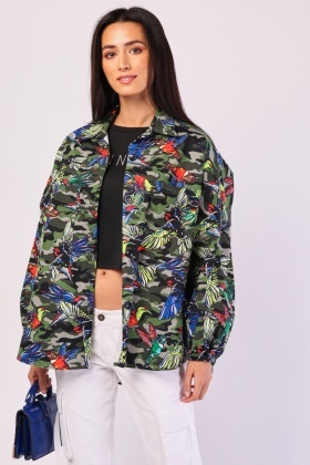 Bird Camo Print Shacket