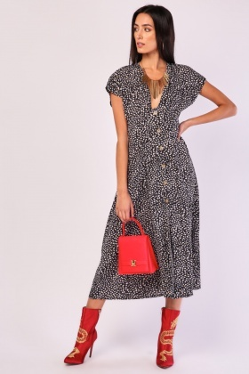 Jaguar Print Midi Swing Dress