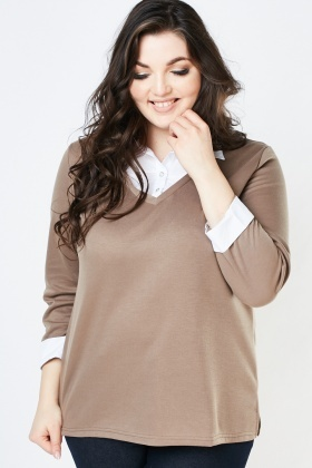 Ruched Shirt Insert Knit Sweater