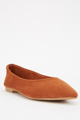 Camel Suedette Pointed Ballet Pumps