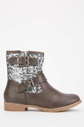 Contrasted Sequin Ankle Boots