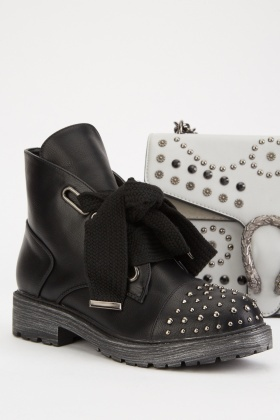 Studded Detail Lace Up Ankle Boots $6.60
